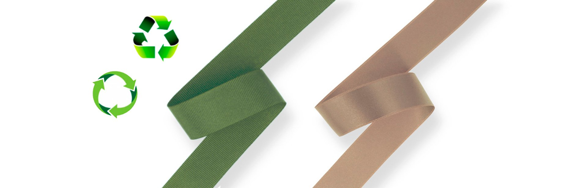 New 100% recycled polyester ribbons made from plastic packaginc